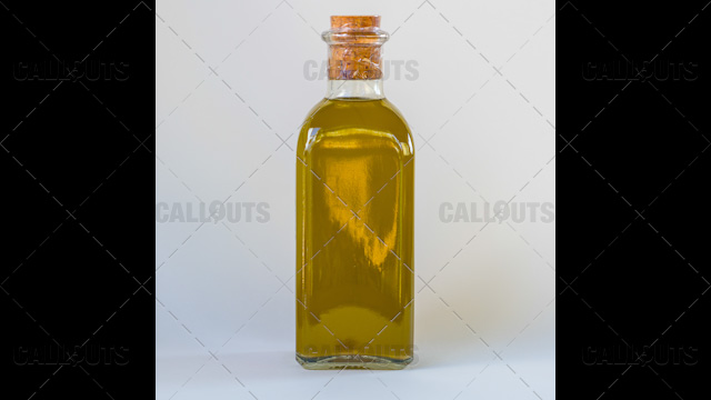 Homemade Olive Oil Bottle On White Background Callouts