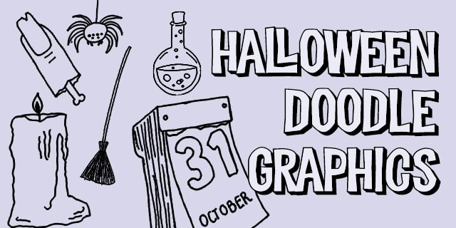 Halloween Scary Doodle Graphics BW