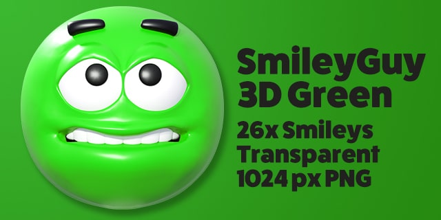 SmileyGuy Green 3D Smileys Emoticons