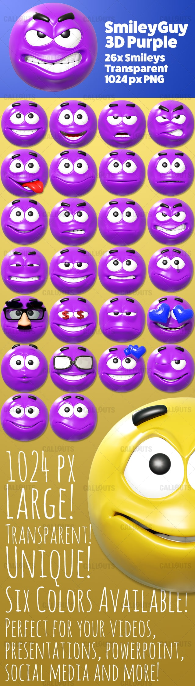 SmileyGuy 3D Purple
