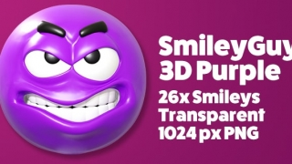 SmileyGuy Purple 3D Smileys Emoticons
