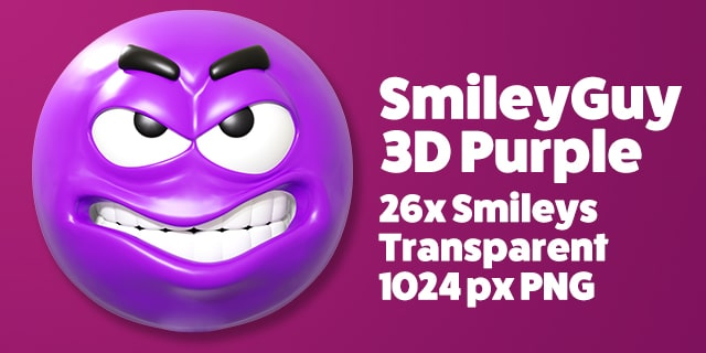 SmileyGuy Purple 3D Smileys Emoticons