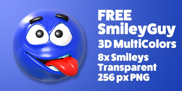 Free SmileyGuy Collection of Colored 3D Smileys, Emoticons