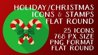 Holiday Christmas Icon Stamps Collection Flat Round