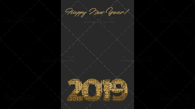 2019 Happy New Year Poster 02 – Vertical 3D Brown, Many Languages