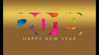 2019 Happy New Year Poster 04 – Gold Paper Cutout Colorful Background