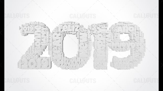 2019 Happy New Year Poster 05 – 3D Extruded White in Many Languages