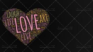 Love Wordart Poster Horizontal on Dark Background