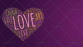 Love Wordart Poster Horizontal on Purple Background