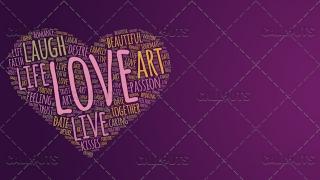 Love Wordart Poster Horizontal on Purple Background