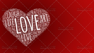 Love Wordart Poster Horizontal on Red Background
