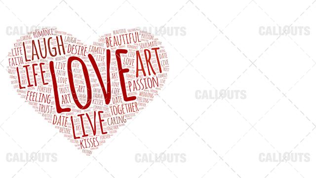 Love Wordart Poster Horizontal on White Background