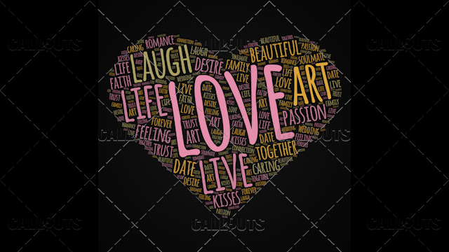 Love Wordart Poster Square on Dark Background