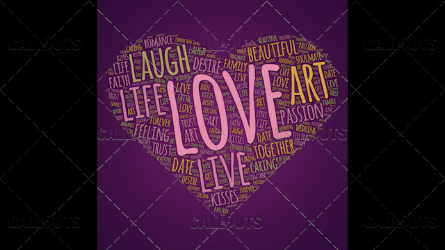 Love Wordart Poster Square on Purple Background
