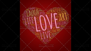 Love Wordart Poster Square on Red Background
