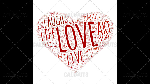 Love Wordart Poster Square on White Background