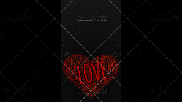 Love Wordart Poster Vertical on Dark Background