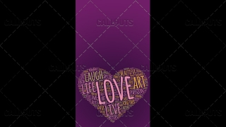 Love Wordart Poster Vertical on Purple Background