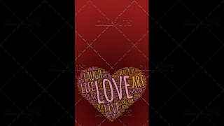 Love Wordart Poster Vertical on Red Background