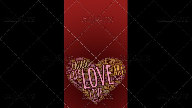 Love Wordart Poster Vertical on Red Background