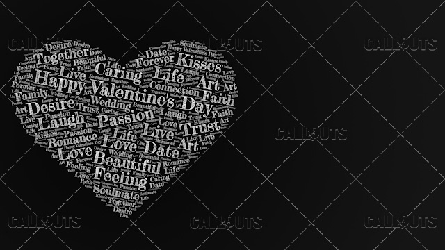 Happy Valentine's Day Poster Horizontal on Dark Background