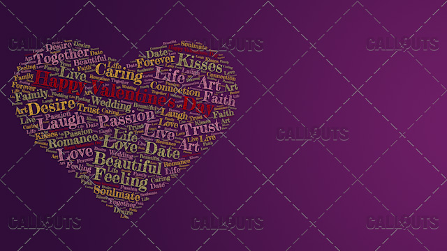 Happy Valentine's Day Poster Horizontal on Purple Background