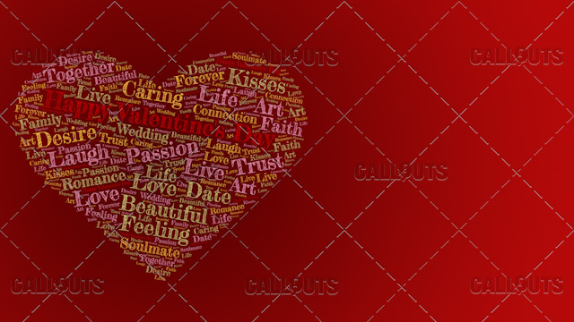 Happy Valentine's Day Poster Horizontal on Red Background
