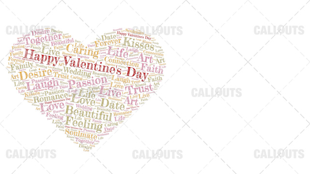 Happy Valentine's Day Poster Horizontal on White Background