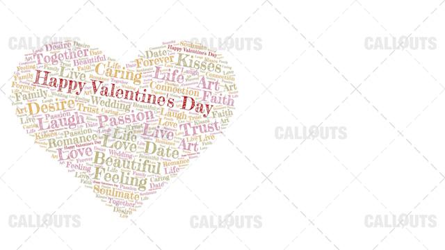 Happy Valentine's Day Poster Horizontal on White Background