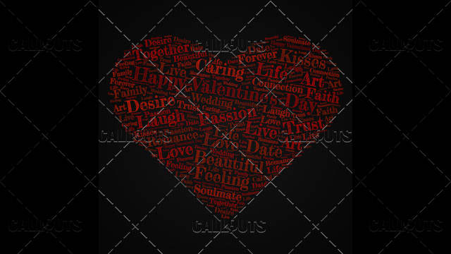 Happy Valentine's Day Poster Square on Dark Background