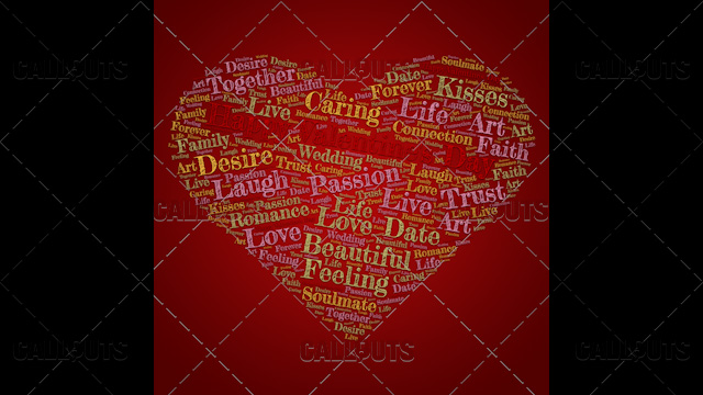 Happy Valentine's Day Poster Square on Red Background