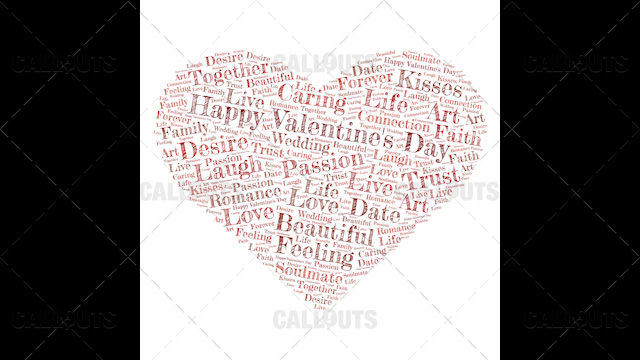 Happy Valentine's Day Poster Square on White Background