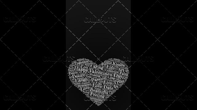 Happy Valentine's Day Poster Vertical on Dark Background