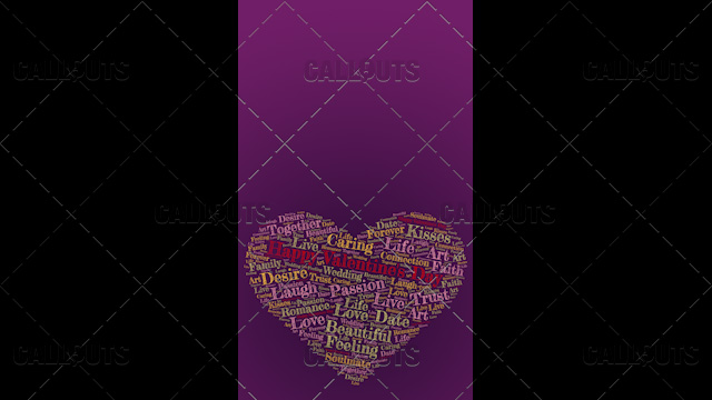 Happy Valentine's Day Poster Vertical on Purple Background