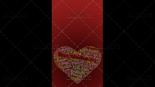 Happy Valentine's Day Poster Vertical on Red Background