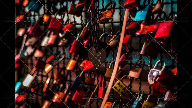 Clolorful Love Locks on Bridge