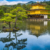 Wide shot of The Golden Pavilion, Kinkaku-ji, a Zen Buddhist temple, Kyoto, Japan