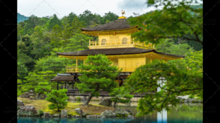 The Golden Pavilion, Kinkaku-ji, a Zen Buddhist temple, Kyoto, Japan