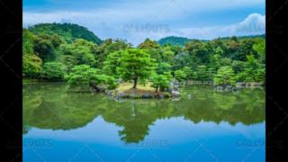 Kinkaku-ji, Zen Buddhist temple garden pond, Kyoto, Japan