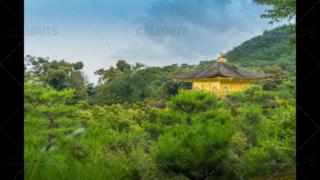 Rooftop of The Golden Pavilion, Kinkaku-ji, a Zen Buddhist temple, Kyoto, Japan