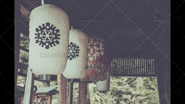 Japanese buddhist temple lamps