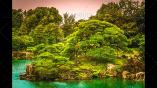 Magical Japanese buddhist temple garden with island in pond