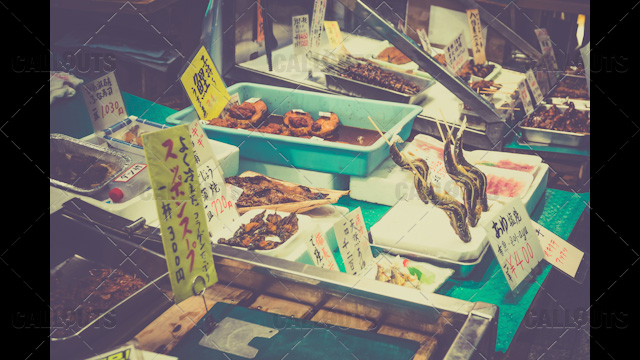 Japanese food market with eels