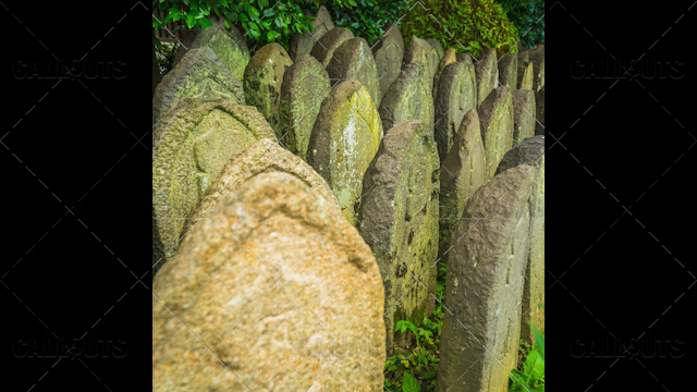 Japanese temple headstones