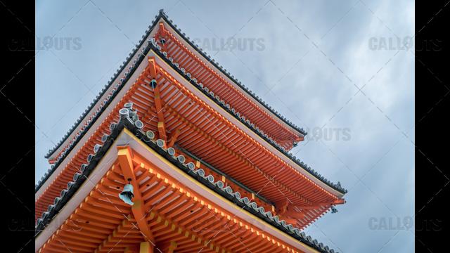 Pagoda orange Buddhist temple roof Japan