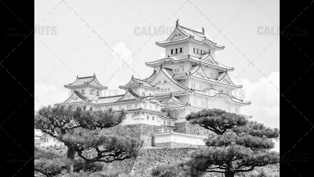 Himeji Castle, a hilltop Japanese castle by the city of Himeji, Hyōgo Prefecture, Japan. Black and White.