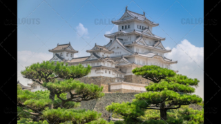 Himeji Castle, a hilltop Japanese castle by the city of Himeji, Hyōgo Prefecture, Japan. With trees in foreground.