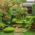 Japanese green garden with pond