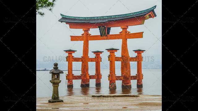 Floating Torii Gate Shinto Shrine on the island of Itsukushima