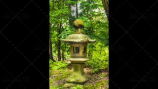 Fushimi Inari-taisha shrine, stone lantern 2, Tōrō, in forest. Kyoto, Japan.